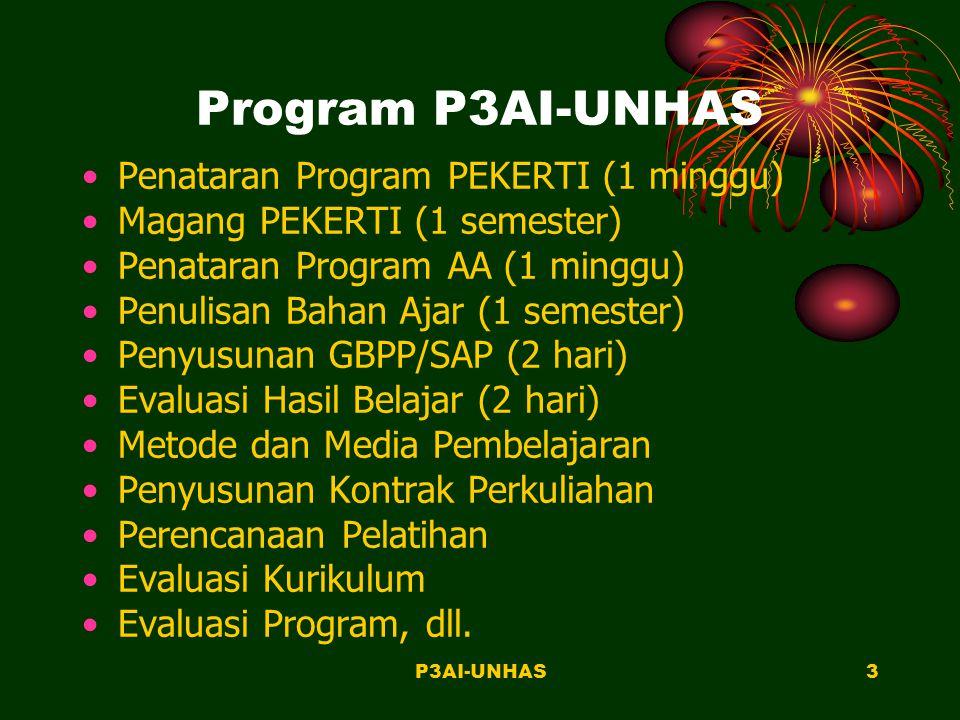 P3AI-UNHAS2 FUNGSI P3AI-UNHAS Desain dan Pengembangan Instruksional Penelitian dan Evaluasi Instruksional Pendidikan dan Pelatihan Media dan Sumber Belajar Konsultasi dan Kerjasama