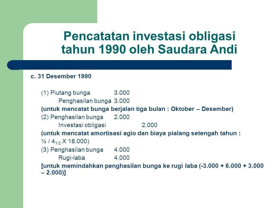Pencatatan investasi obligasi tahun 1990 oleh Saudara Andi c. 31 Desember 1990 (1) Piutang bunga3.000 Penghasilan bunga3.000 (untuk mencatat bunga ber
