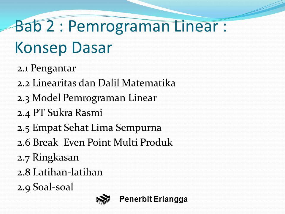 Bab 2 : Pemrograman Linear : Konsep Dasar 2.1 Pengantar 2.2 Linearitas dan Dalil Matematika 2.3 Model Pemrograman Linear 2.4 PT Sukra Rasmi 2.5 Empat Sehat Lima Sempurna 2.6 Break Even Point Multi Produk 2.7 Ringkasan 2.8 Latihan-latihan 2.9 Soal-soal Penerbit Erlangga