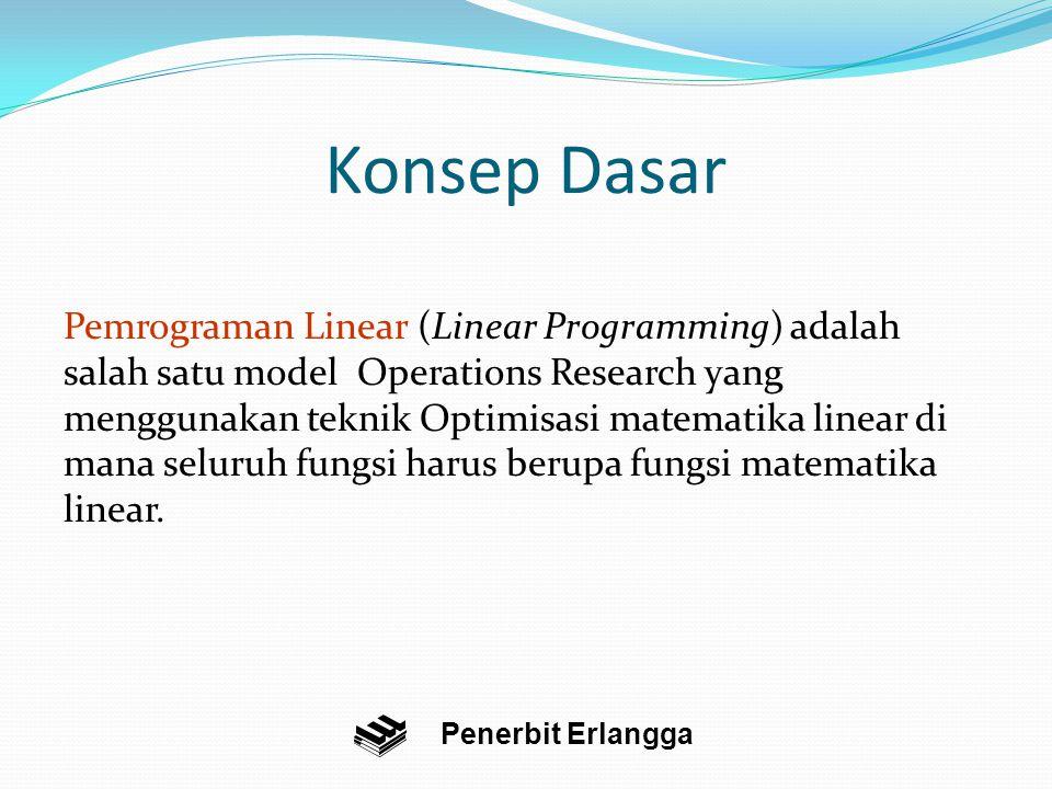 Konsep Dasar Pemrograman Linear (Linear Programming) adalah salah satu model Operations Research yang menggunakan teknik Optimisasi matematika linear di mana seluruh fungsi harus berupa fungsi matematika linear.