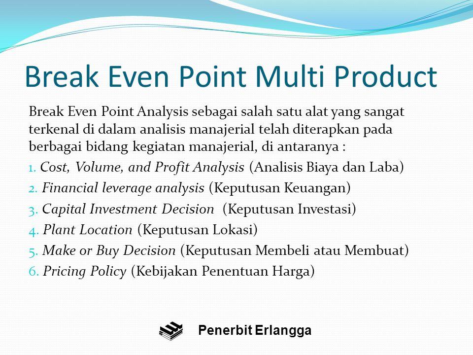 Break Even Point Multi Product Break Even Point Analysis sebagai salah satu alat yang sangat terkenal di dalam analisis manajerial telah diterapkan pada berbagai bidang kegiatan manajerial, di antaranya : 1.