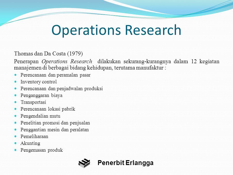 Operations Research Operations Research adalah sebuah pendekatan kuantitatif yang menggunakan metode-metode optimisasi untuk menyelesaikan suatu persoalan matematis.