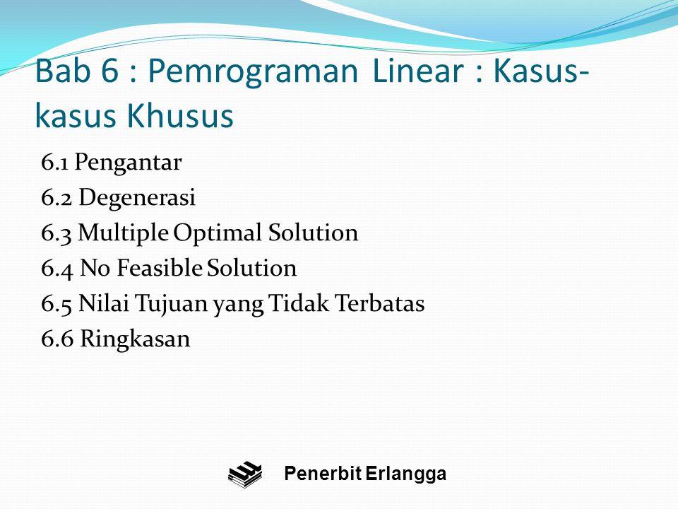 Bab 6 : Pemrograman Linear : Kasus- kasus Khusus 6.1 Pengantar 6.2 Degenerasi 6.3 Multiple Optimal Solution 6.4 No Feasible Solution 6.5 Nilai Tujuan yang Tidak Terbatas 6.6 Ringkasan Penerbit Erlangga