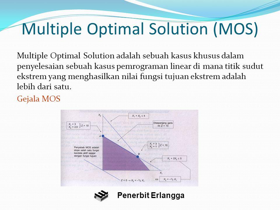 Multiple Optimal Solution (MOS) Multiple Optimal Solution adalah sebuah kasus khusus dalam penyelesaian sebuah kasus pemrograman linear di mana titik sudut ekstrem yang menghasilkan nilai fungsi tujuan ekstrem adalah lebih dari satu.