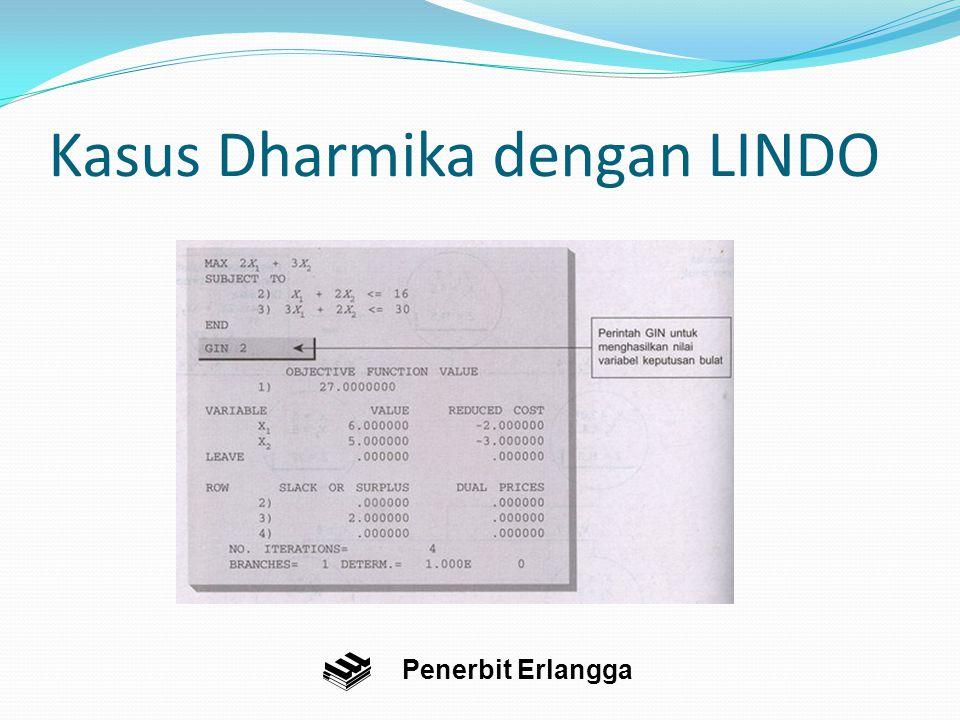 Kasus Dharmika dengan LINDO Penerbit Erlangga