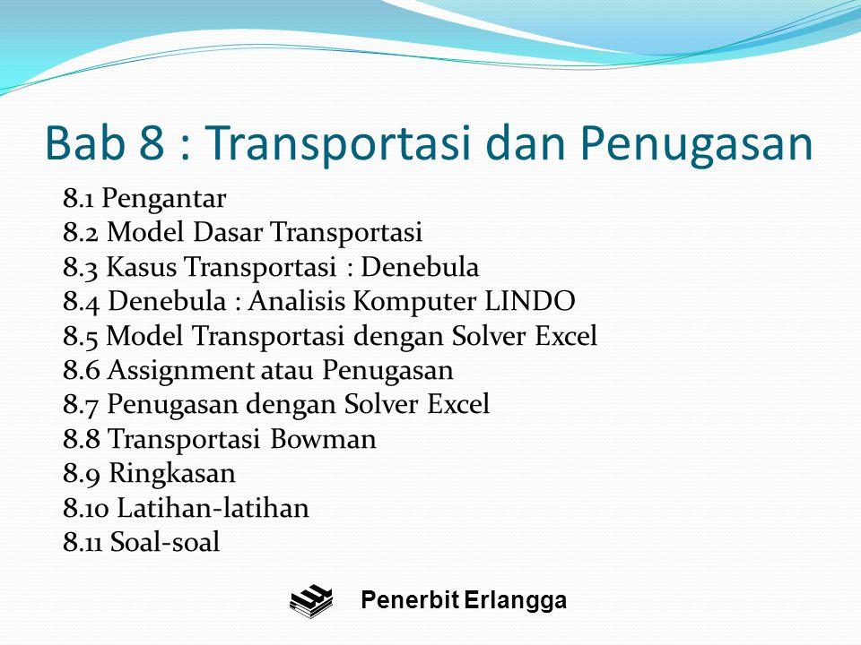 Bab 8 : Transportasi dan Penugasan 8.1 Pengantar 8.2 Model Dasar Transportasi 8.3 Kasus Transportasi : Denebula 8.4 Denebula : Analisis Komputer LINDO 8.5 Model Transportasi dengan Solver Excel 8.6 Assignment atau Penugasan 8.7 Penugasan dengan Solver Excel 8.8 Transportasi Bowman 8.9 Ringkasan 8.10 Latihan-latihan 8.11 Soal-soal Penerbit Erlangga