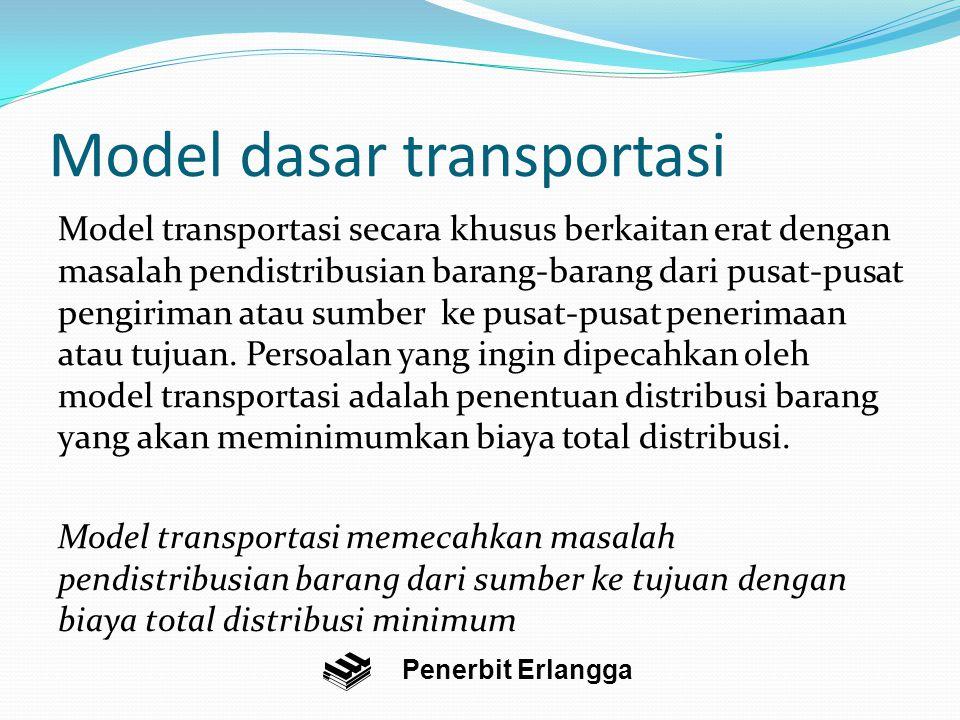 Model dasar transportasi Model transportasi secara khusus berkaitan erat dengan masalah pendistribusian barang-barang dari pusat-pusat pengiriman atau sumber ke pusat-pusat penerimaan atau tujuan.