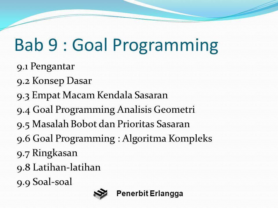 Bab 9 : Goal Programming 9.1 Pengantar 9.2 Konsep Dasar 9.3 Empat Macam Kendala Sasaran 9.4 Goal Programming Analisis Geometri 9.5 Masalah Bobot dan Prioritas Sasaran 9.6 Goal Programming : Algoritma Kompleks 9.7 Ringkasan 9.8 Latihan-latihan 9.9 Soal-soal Penerbit Erlangga