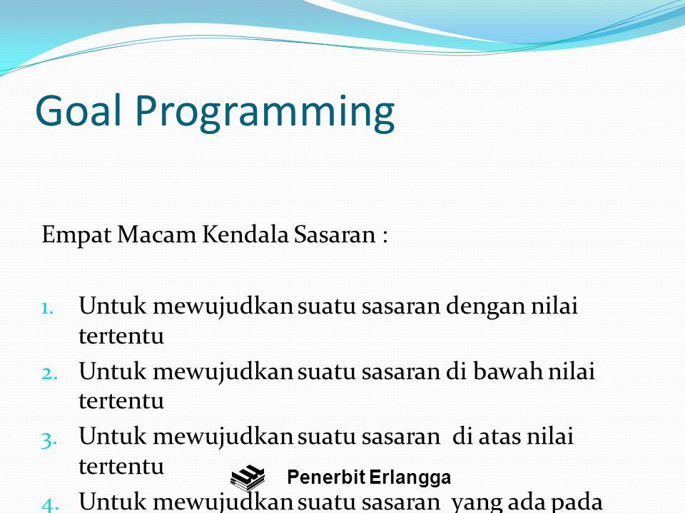 Goal Programming Empat Macam Kendala Sasaran : 1.