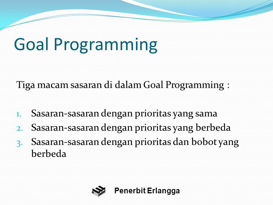Goal Programming Tiga macam sasaran di dalam Goal Programming : 1.