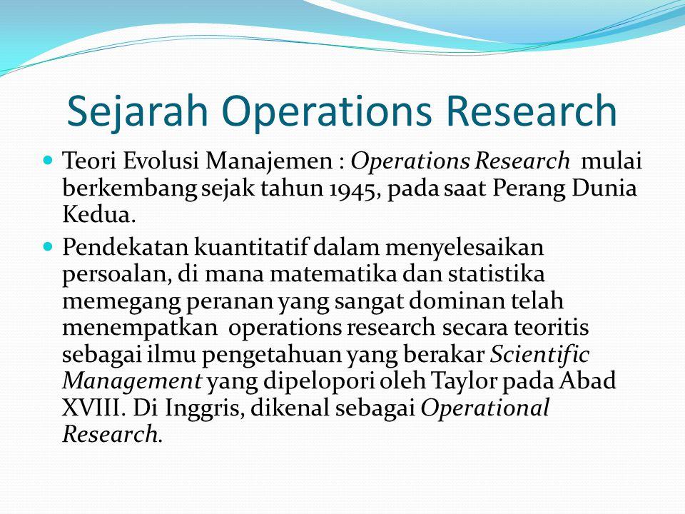 Sejarah Operations Research Teori Evolusi Manajemen : Operations Research mulai berkembang sejak tahun 1945, pada saat Perang Dunia Kedua.