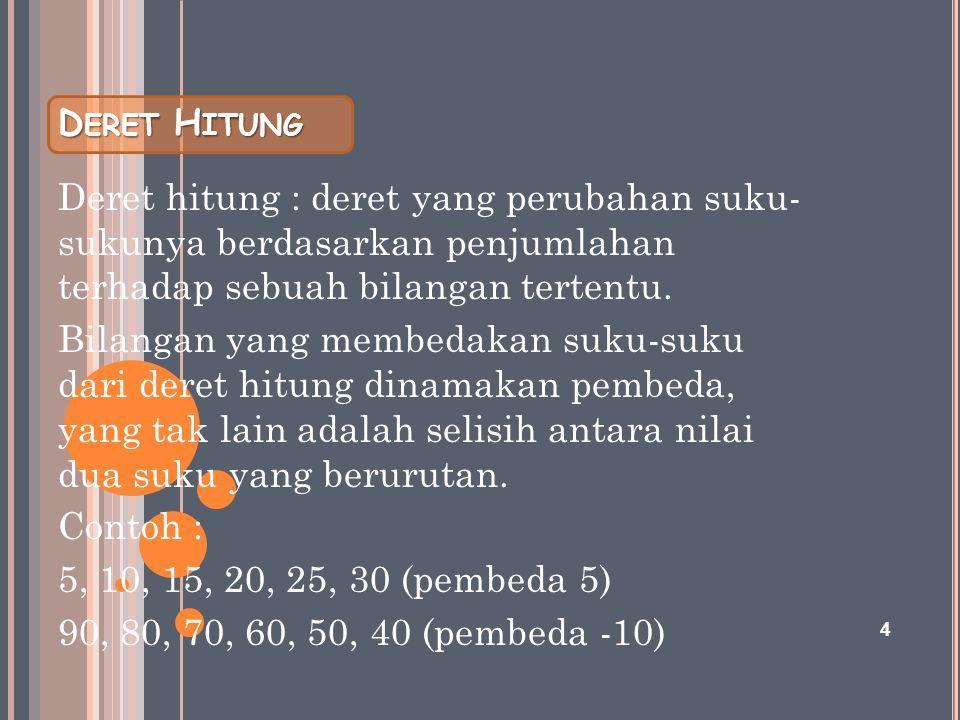 D ERET H ITUNG Deret hitung : deret yang perubahan suku- sukunya berdasarkan penjumlahan terhadap sebuah bilangan tertentu. Bilangan yang membedakan s