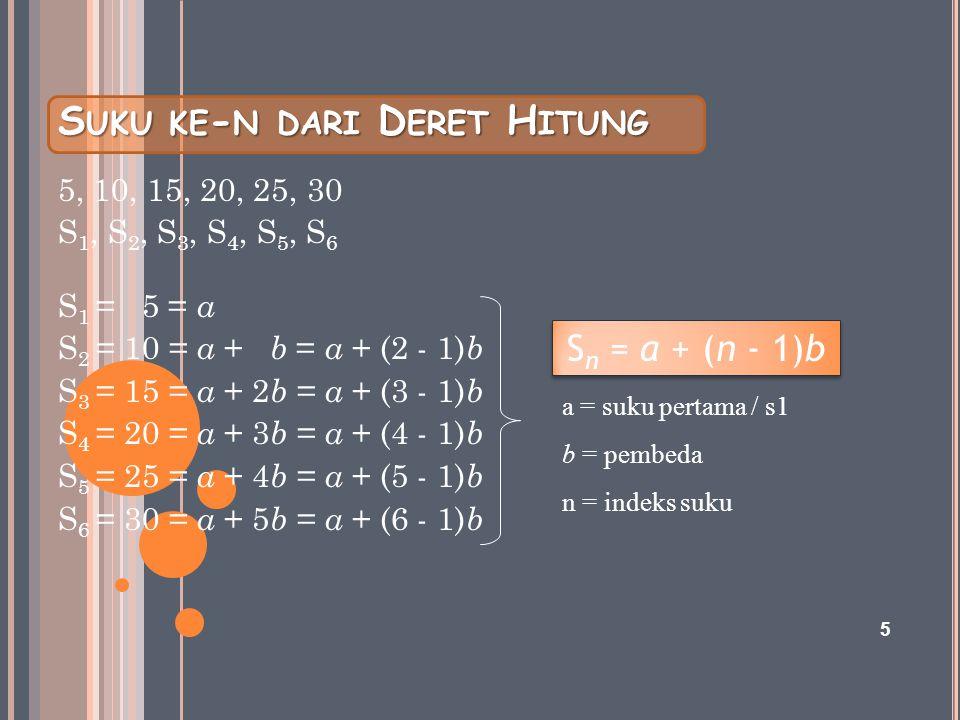 S UKU KE - N DARI D ERET H ITUNG 5, 10, 15, 20, 25, 30 S 1, S 2, S 3, S 4, S 5, S 6 S 1 = 5 = a S 2 = 10 = a + b = a + (2 - 1) b S 3 = 15 = a + 2 b =