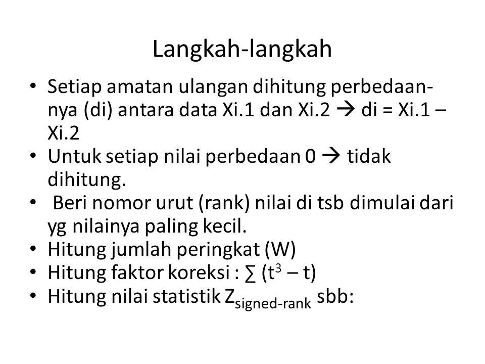 Langkah-langkah Setiap amatan ulangan dihitung perbedaan- nya (di) antara data Xi.1 dan Xi.2  di = Xi.1 – Xi.2 Untuk setiap nilai perbedaan 0  tidak