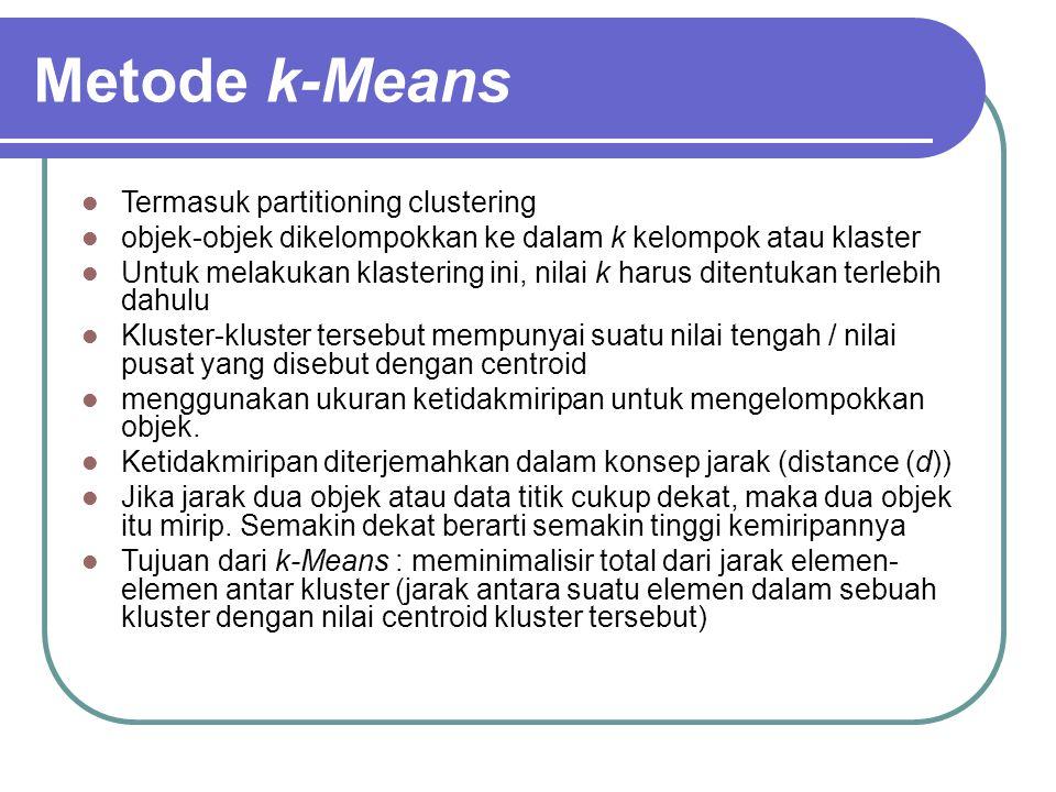Metode k-Means Termasuk partitioning clustering objek-objek dikelompokkan ke dalam k kelompok atau klaster Untuk melakukan klastering ini, nilai k har