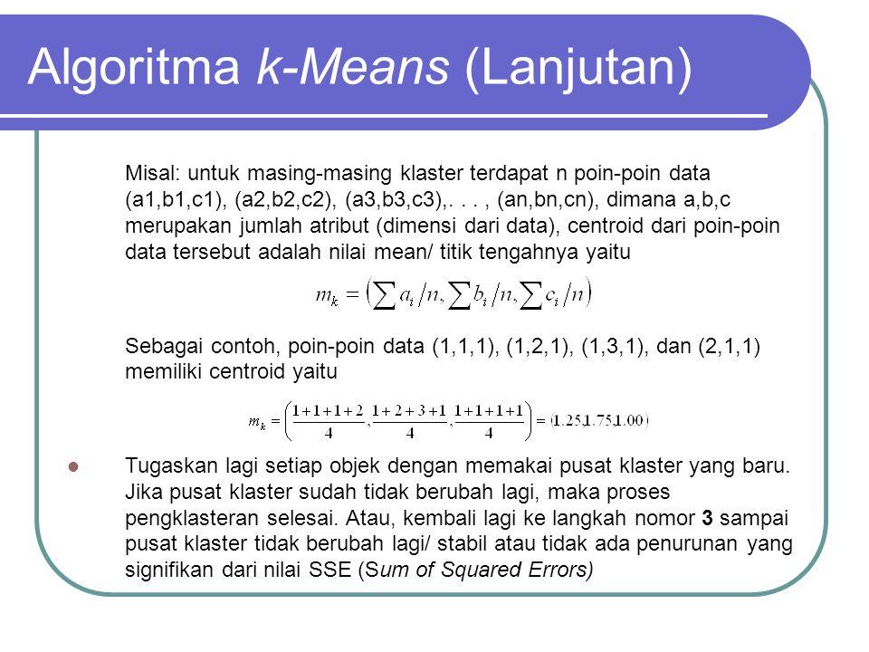 Algoritma k-Means (Lanjutan) Misal: untuk masing-masing klaster terdapat n poin-poin data (a1,b1,c1), (a2,b2,c2), (a3,b3,c3),..., (an,bn,cn), dimana a