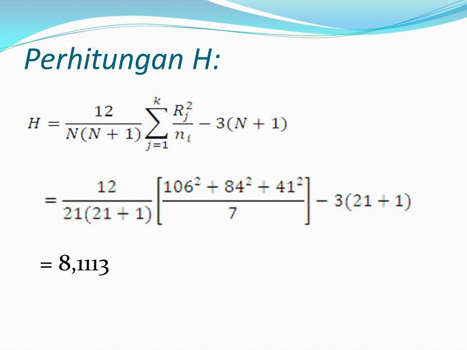 Perhitungan H: = 8,1113