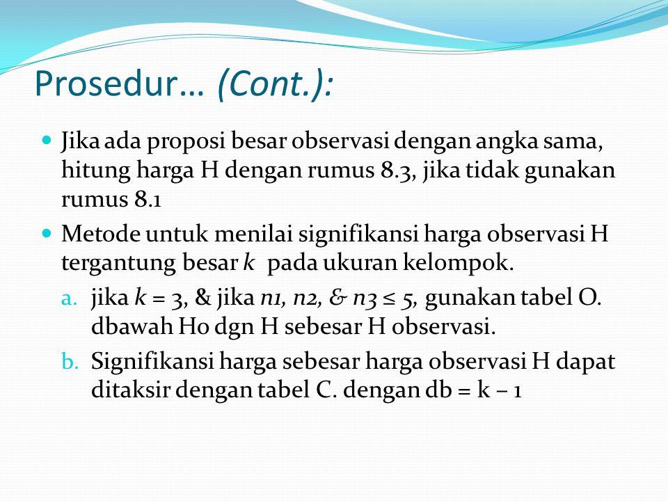 Prosedur… (Cont.): Jika kemungkinan harga observasi H adalah sama dengan atau kurang dari α, maka tolak Ho dan terima H1.
