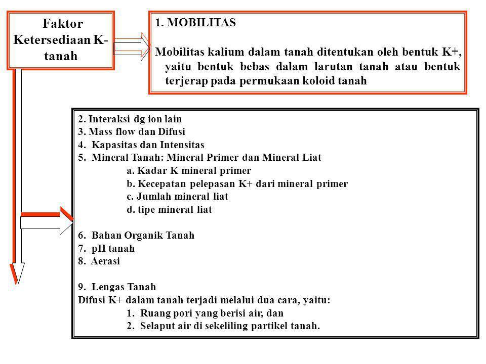 K - tersedia Terangkut tanaman Hilang pencucian Hilang Erosi & Run-off Fiksasi Kalium Sisa tanaman & Pupuk kandang Pupuk buatan Mineral kalium lambat tersedia