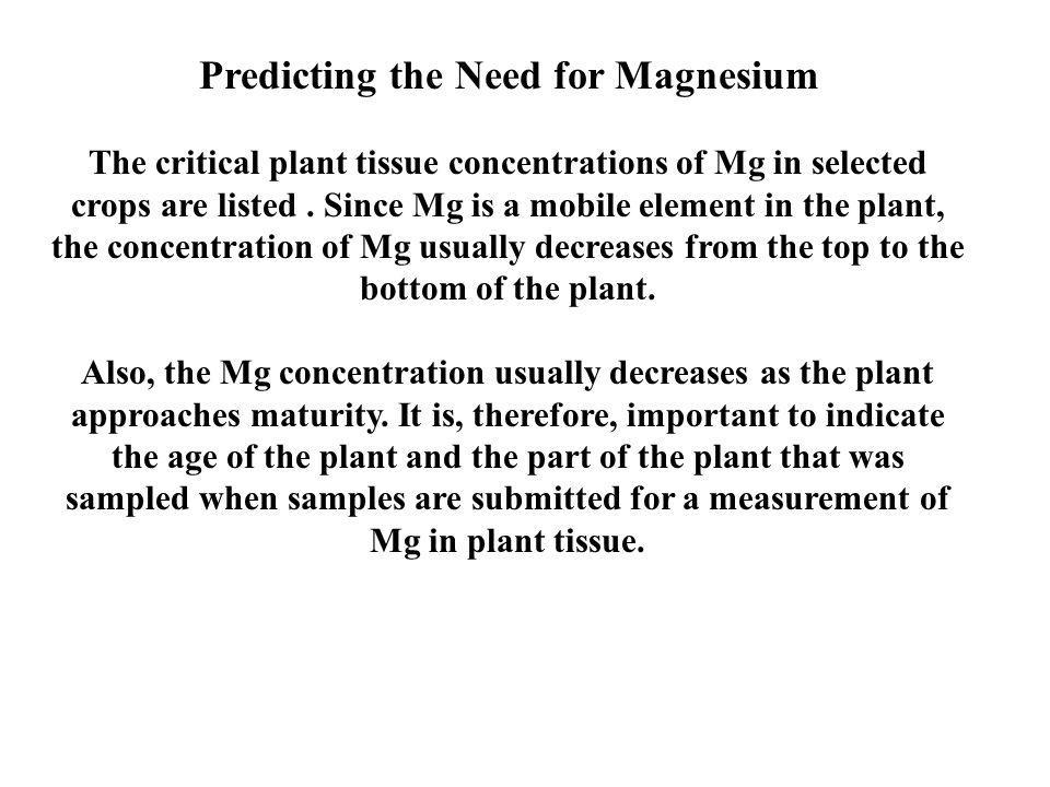 Relationship of Magnesium to Calcium in Soils There are some who believe that there is an ideal ratio of calcium to magnesium in soils and one of these two nutrients should be added in a fertilizer program if this ideal ratio does not exist.