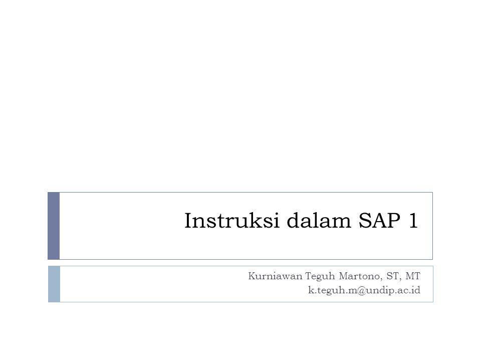 Pemrograman SAP-1  Gambar disamping merupakan representasi dari saklar pada panel operartor SAP-1 dengan nilai 16 x 8  Jika tertutup = 1, terbuka = 0  Dapat menyimpan 16 kata pada alamat 0 sampai F