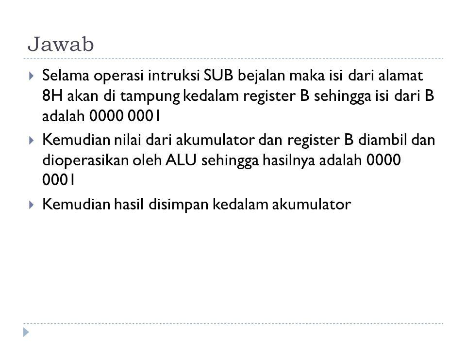 Jawab  Selama operasi intruksi SUB bejalan maka isi dari alamat 8H akan di tampung kedalam register B sehingga isi dari B adalah 0000 0001  Kemudian