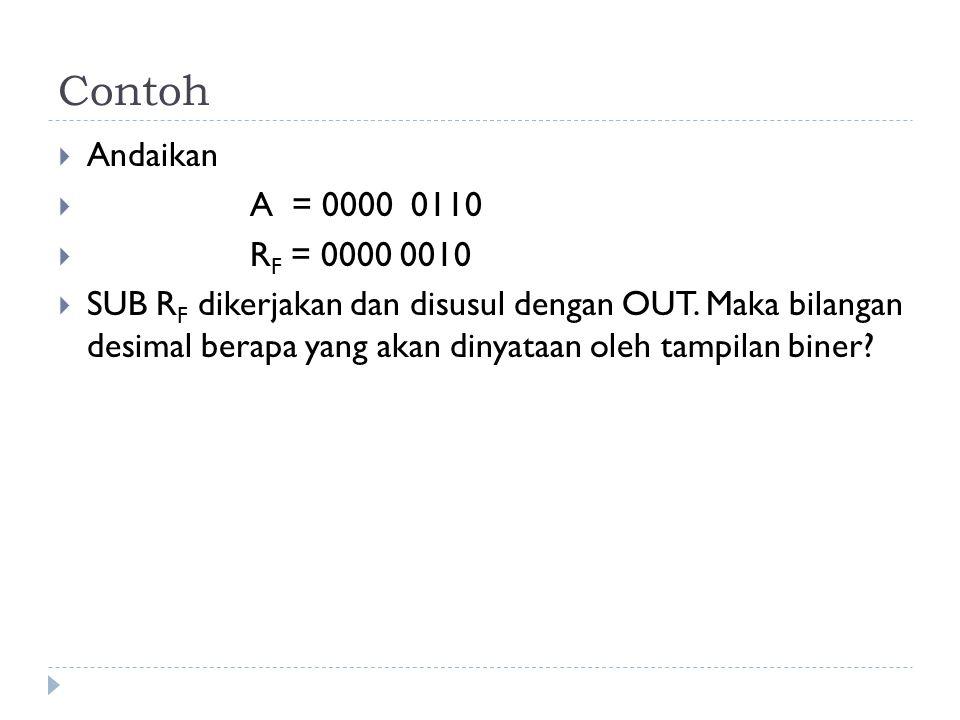 Contoh  Andaikan  A = 0000 0110  R F = 0000 0010  SUB R F dikerjakan dan disusul dengan OUT. Maka bilangan desimal berapa yang akan dinyataan oleh