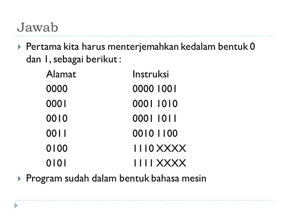 Jawab  Pertama kita harus menterjemahkan kedalam bentuk 0 dan 1, sebagai berikut : Alamat Instruksi 0000 0000 1001 00010001 1010 00100001 1011 001100