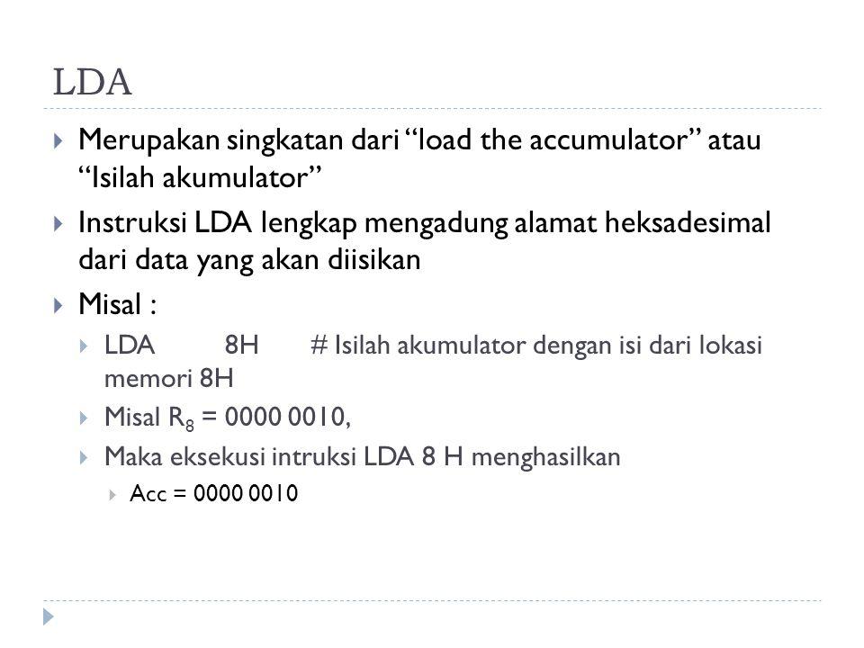 """LDA  Merupakan singkatan dari """"load the accumulator"""" atau """"Isilah akumulator""""  Instruksi LDA lengkap mengadung alamat heksadesimal dari data yang ak"""