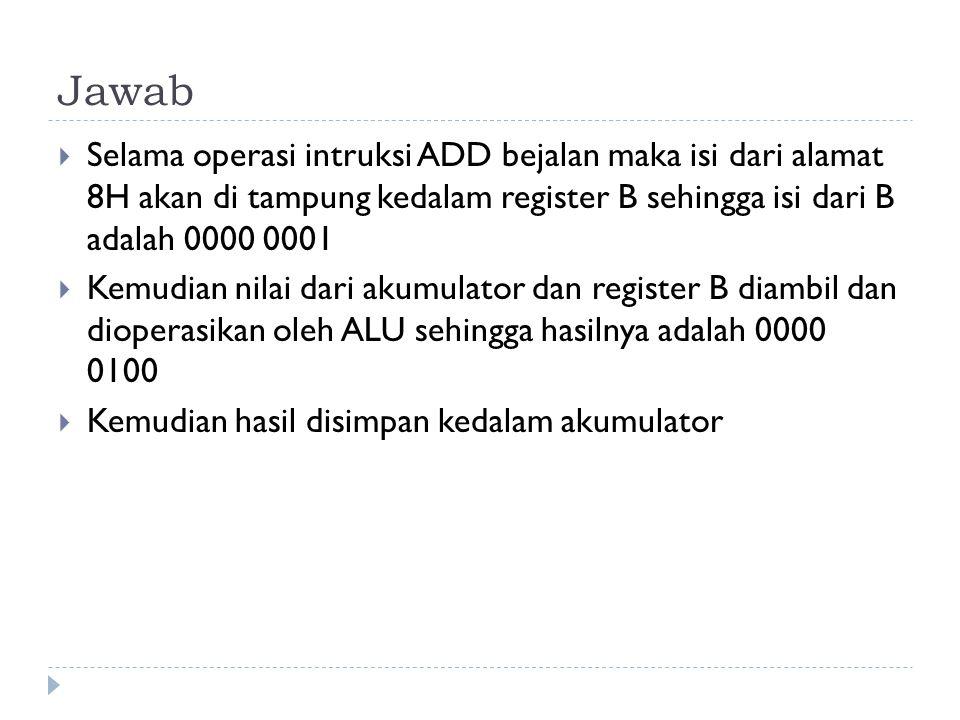Jawab  Selama operasi intruksi ADD bejalan maka isi dari alamat 8H akan di tampung kedalam register B sehingga isi dari B adalah 0000 0001  Kemudian