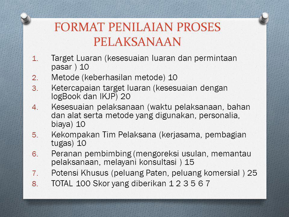 FORMAT PENILAIAN PROSES PELAKSANAAN 1. Target Luaran (kesesuaian luaran dan permintaan pasar ) 10 2. Metode (keberhasilan metode) 10 3. Ketercapaian t