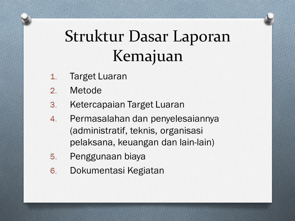 Struktur Dasar Laporan Kemajuan 1. Target Luaran 2. Metode 3. Ketercapaian Target Luaran 4. Permasalahan dan penyelesaiannya (administratif, teknis, o