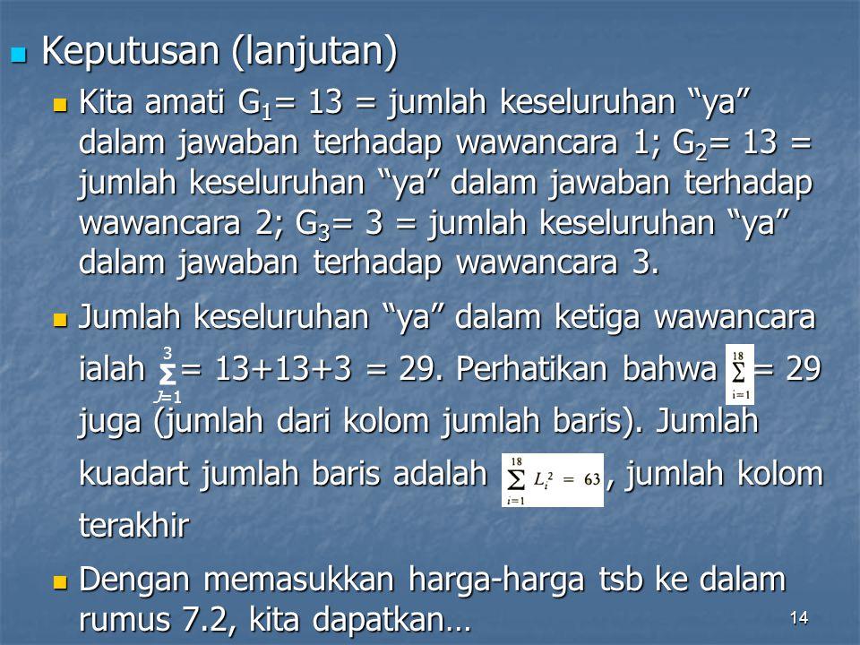 14 Keputusan (lanjutan) Keputusan (lanjutan) Kita amati G 1 = 13 = jumlah keseluruhan ya dalam jawaban terhadap wawancara 1; G 2 = 13 = jumlah keseluruhan ya dalam jawaban terhadap wawancara 2; G 3 = 3 = jumlah keseluruhan ya dalam jawaban terhadap wawancara 3.