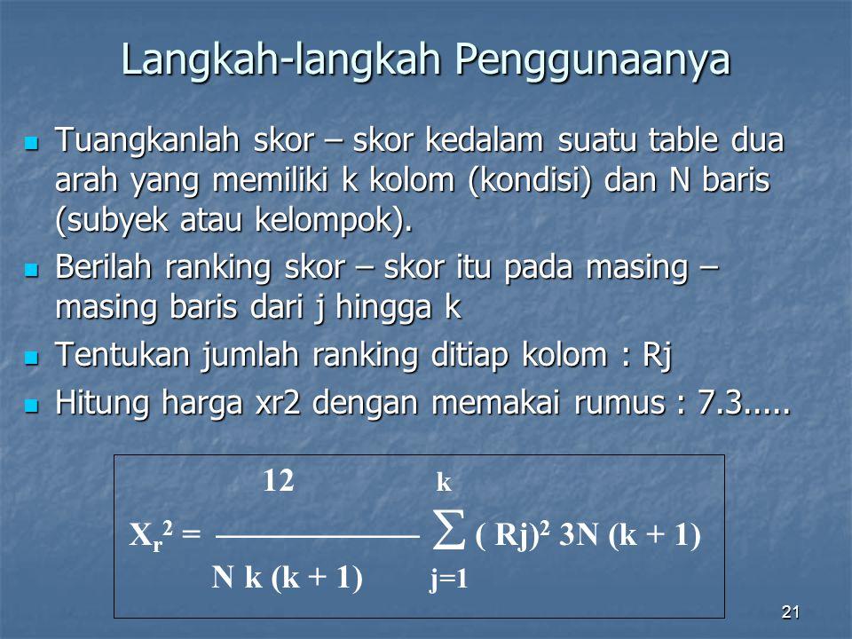 21 Langkah-langkah Penggunaanya Tuangkanlah skor – skor kedalam suatu table dua arah yang memiliki k kolom (kondisi) dan N baris (subyek atau kelompok).