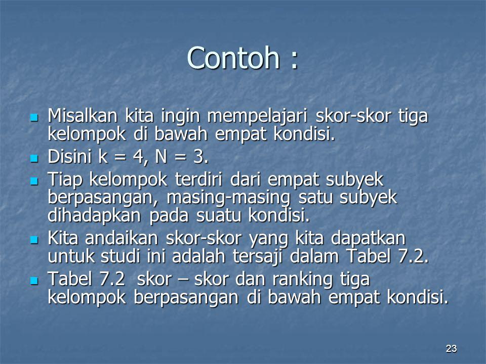 23 Contoh : Misalkan kita ingin mempelajari skor-skor tiga kelompok di bawah empat kondisi.