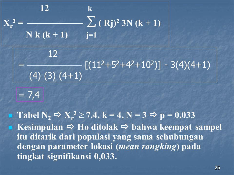 25 12 k X r 2 =   ( Rj) 2 3N (k + 1) N k (k + 1) j=1 12 =  [(11 2 +5 2 +4 2 +10 2 )] - 3(4)(4+1) (4) (3) (4+1) = 7,4 Tabel N 2  X r 2  7.4, k = 4, N = 3  p = 0,033 Kesimpulan  Ho ditolak  bahwa keempat sampel itu ditarik dari populasi yang sama sehubungan dengan parameter lokasi (mean rangking) pada tingkat signifikansi 0,033.