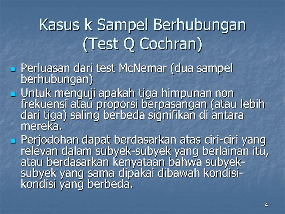 4 Kasus k Sampel Berhubungan (Test Q Cochran) Perluasan dari test McNemar (dua sampel berhubungan) Perluasan dari test McNemar (dua sampel berhubungan) Untuk menguji apakah tiga himpunan non frekuensi atau proporsi berpasangan (atau lebih dari tiga) saling berbeda signifikan di antara mereka.