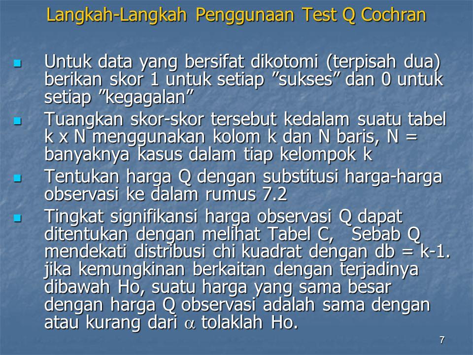 """7 Langkah-Langkah Penggunaan Test Q Cochran Untuk data yang bersifat dikotomi (terpisah dua) berikan skor 1 untuk setiap """"sukses"""" dan 0 untuk setiap """""""