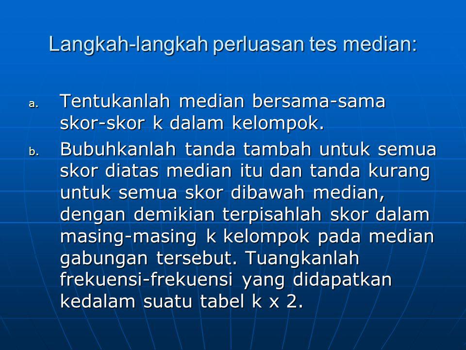 Langkah-langkah perluasan tes median: a.