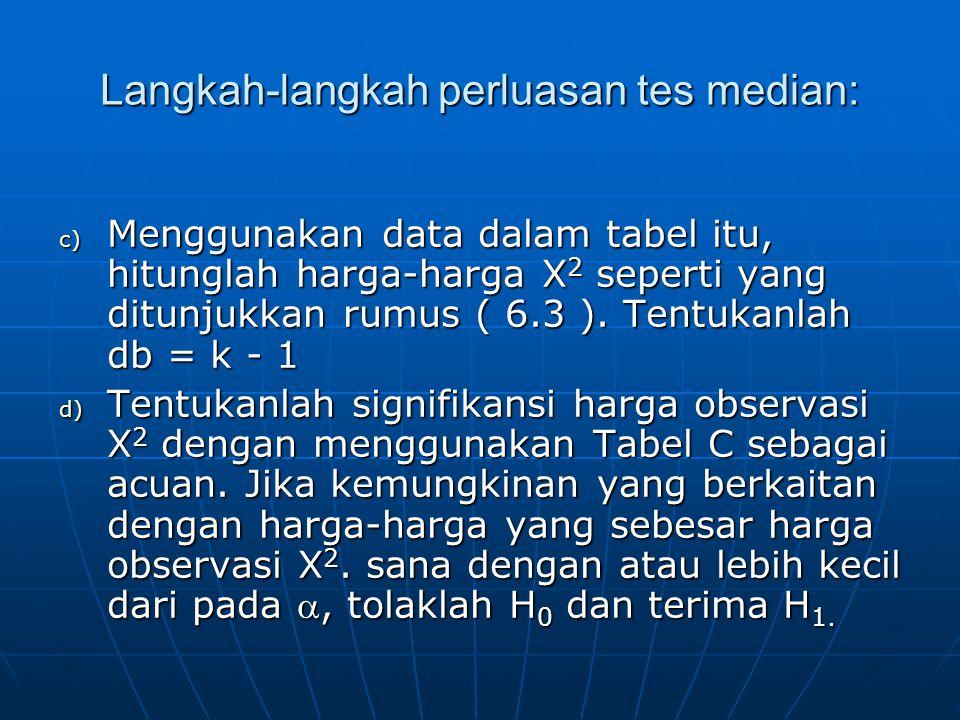 c) Menggunakan data dalam tabel itu, hitunglah harga-harga X 2 seperti yang ditunjukkan rumus ( 6.3 ). Tentukanlah db = k - 1 d) Tentukanlah signifika