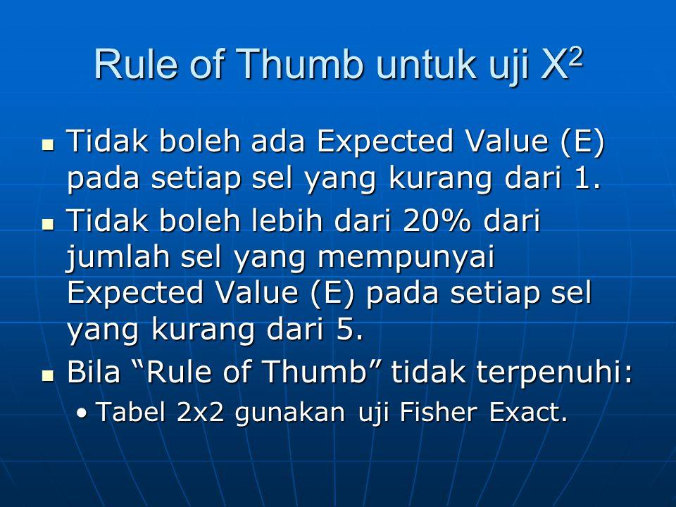 Rule of Thumb untuk uji X 2 Tidak boleh ada Expected Value (E) pada setiap sel yang kurang dari 1. Tidak boleh ada Expected Value (E) pada setiap sel