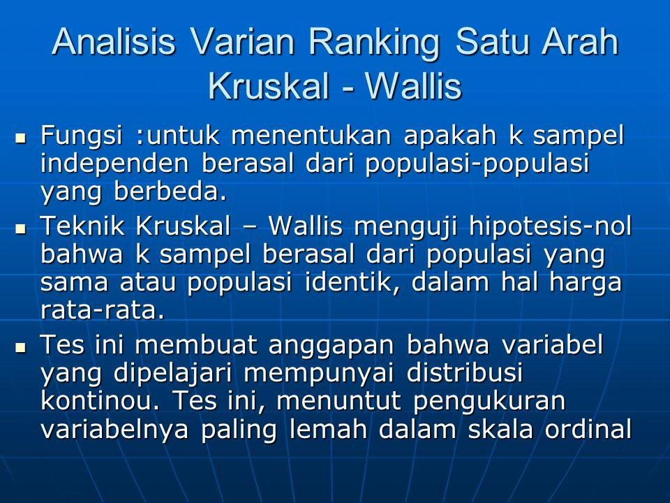 Analisis Varian Ranking Satu Arah Kruskal - Wallis Fungsi :untuk menentukan apakah k sampel independen berasal dari populasi-populasi yang berbeda. Fu