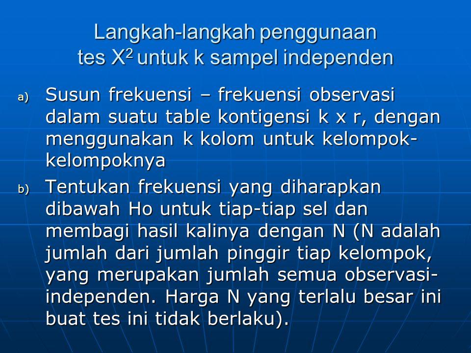 Langkah-langkah penggunaan tes X 2 untuk k sampel independen a) Susun frekuensi – frekuensi observasi dalam suatu table kontigensi k x r, dengan mengg