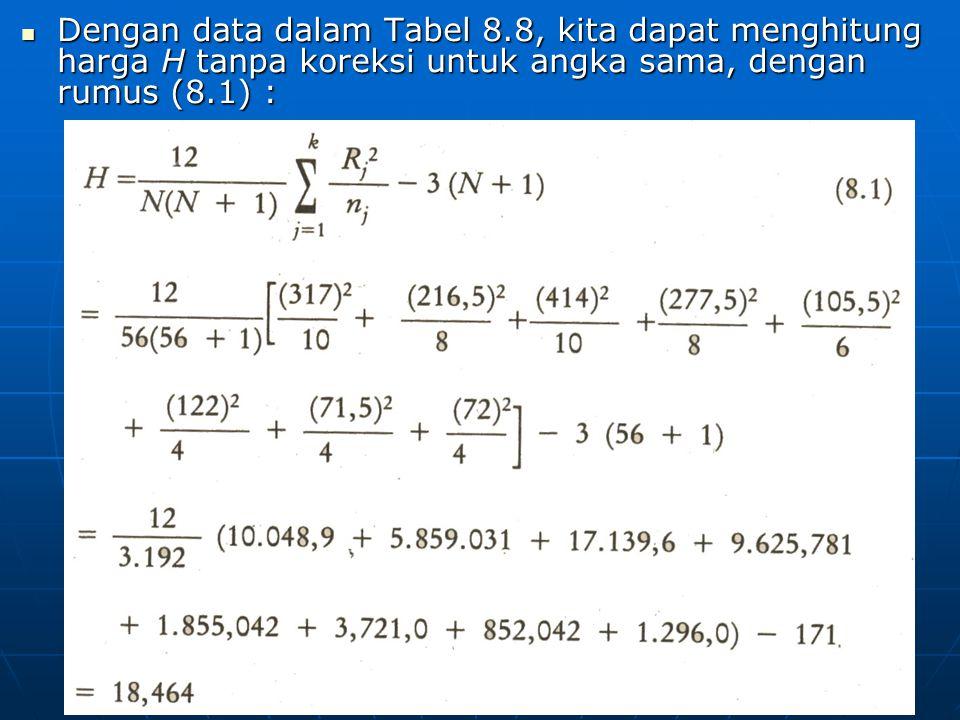 Dengan data dalam Tabel 8.8, kita dapat menghitung harga H tanpa koreksi untuk angka sama, dengan rumus (8.1) : Dengan data dalam Tabel 8.8, kita dapat menghitung harga H tanpa koreksi untuk angka sama, dengan rumus (8.1) :