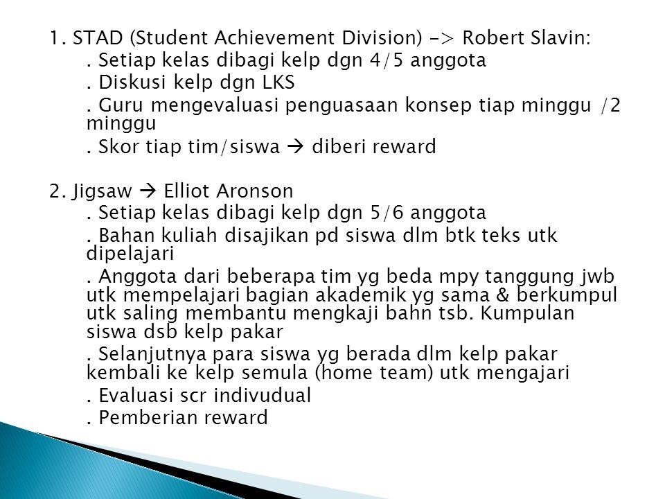 1. STAD (Student Achievement Division) -> Robert Slavin:. Setiap kelas dibagi kelp dgn 4/5 anggota. Diskusi kelp dgn LKS. Guru mengevaluasi penguasaan