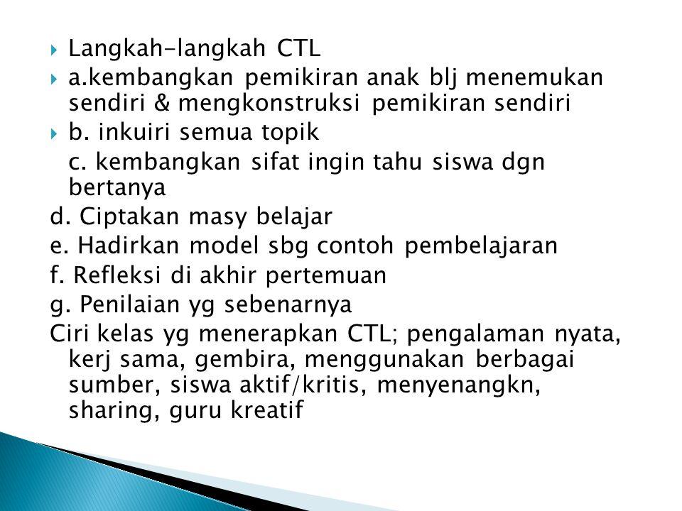  Langkah-langkah CTL  a.kembangkan pemikiran anak blj menemukan sendiri & mengkonstruksi pemikiran sendiri  b. inkuiri semua topik c. kembangkan si