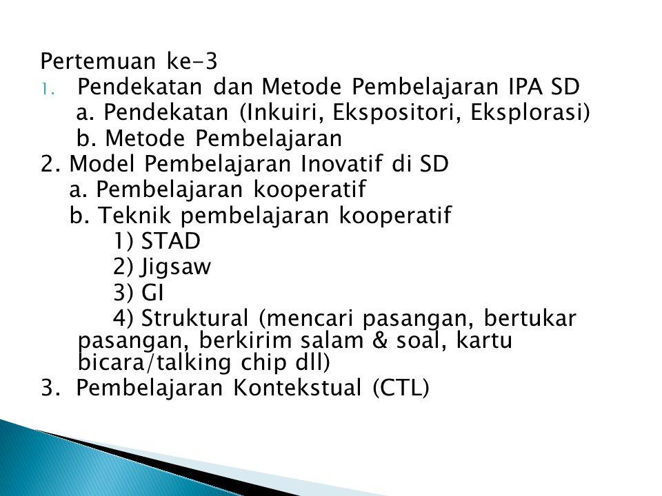 Pertemuan ke-3 1. Pendekatan dan Metode Pembelajaran IPA SD a. Pendekatan (Inkuiri, Ekspositori, Eksplorasi) b. Metode Pembelajaran 2. Model Pembelaja