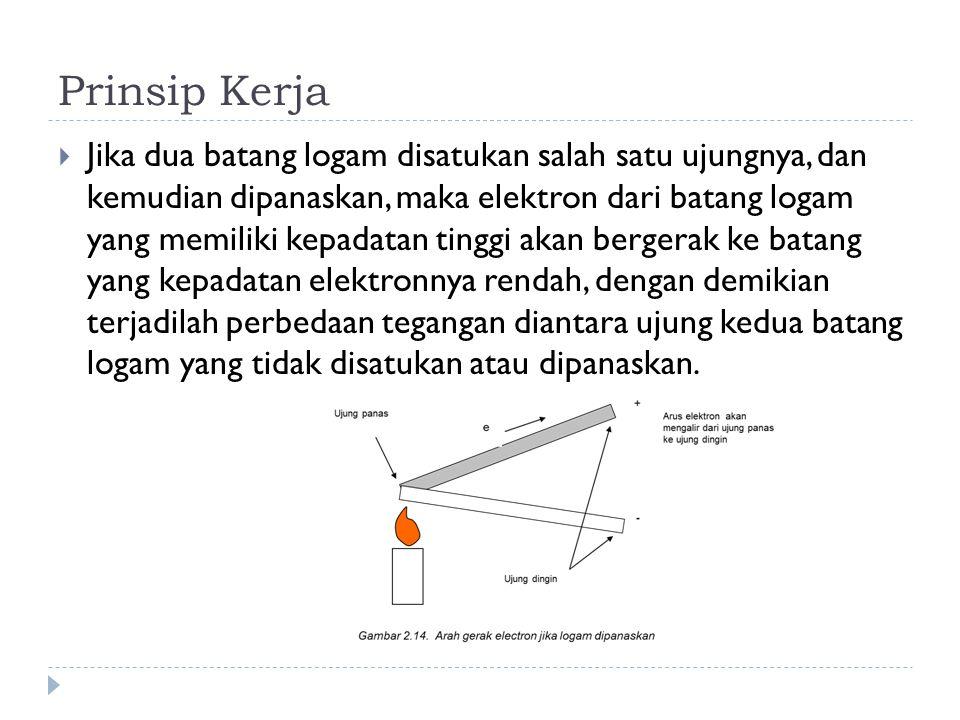 Prinsip Kerja  Jika dua batang logam disatukan salah satu ujungnya, dan kemudian dipanaskan, maka elektron dari batang logam yang memiliki kepadatan