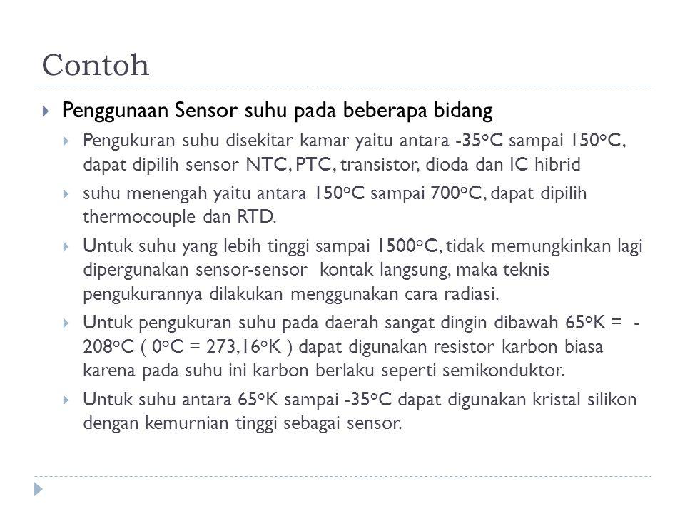 Contoh  Penggunaan Sensor suhu pada beberapa bidang  Pengukuran suhu disekitar kamar yaitu antara -35 o C sampai 150 o C, dapat dipilih sensor NTC,