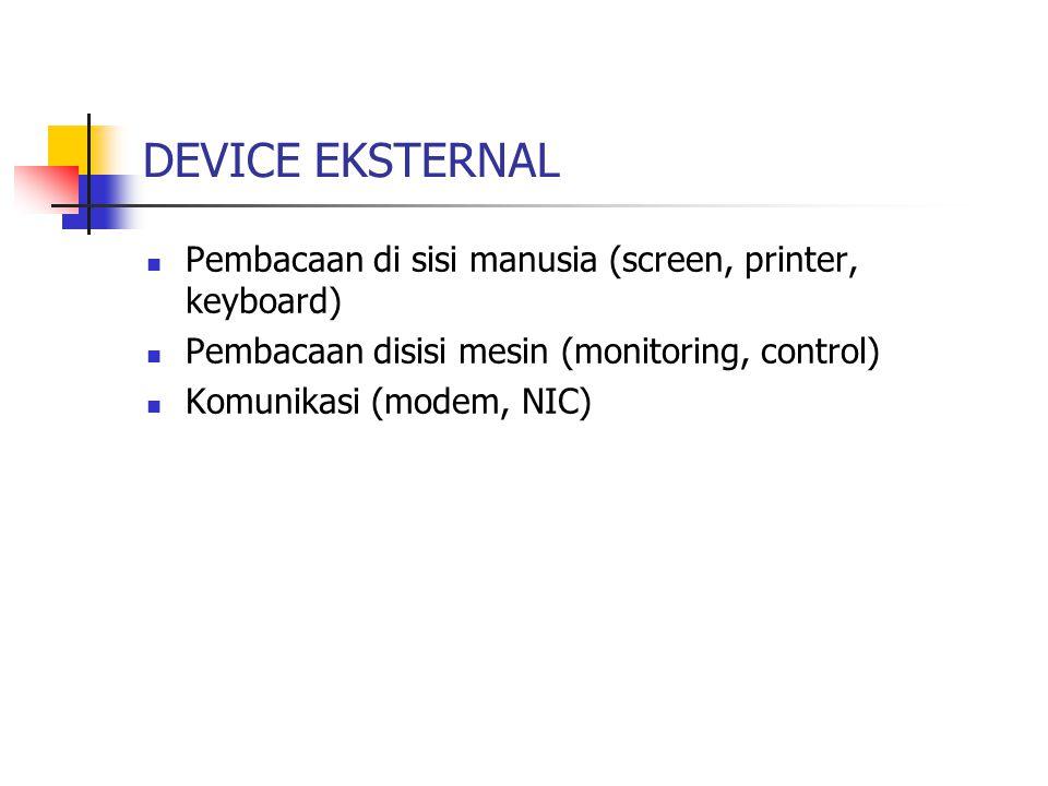 DEVICE EKSTERNAL Pembacaan di sisi manusia (screen, printer, keyboard) Pembacaan disisi mesin (monitoring, control) Komunikasi (modem, NIC)
